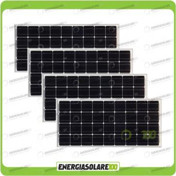 Stock 4 Pannelli Solari 100W 12V Monocristallino