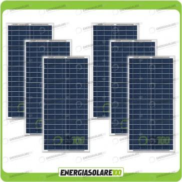 Stock 6 Pannelli Solari 30W 12V
