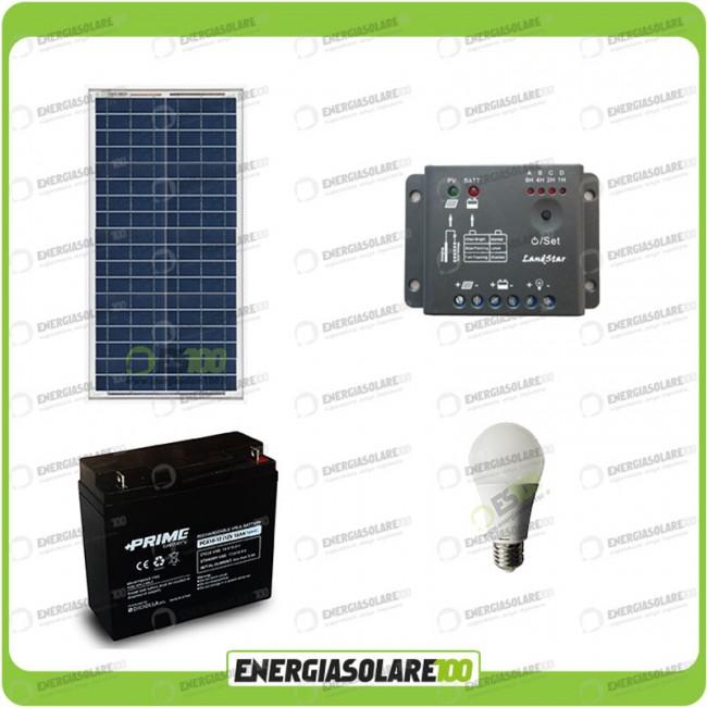 Kit Pannello Solare Led : Kit illuminazione interni pannello solare w lampada led
