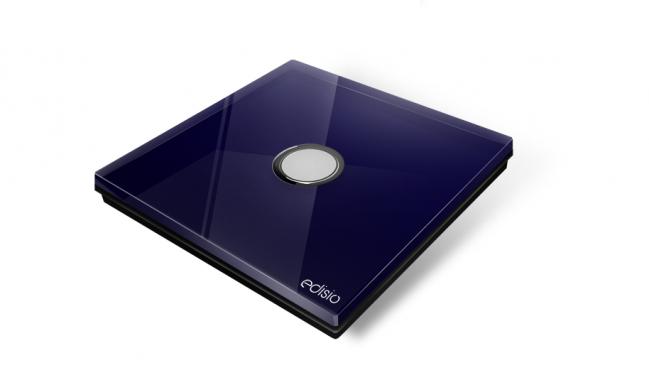 Interruttore wireless blu 1 canale base nera diamond edisio