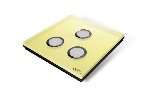Interruttore wireless giallo 3 canali base nera diamond edisio