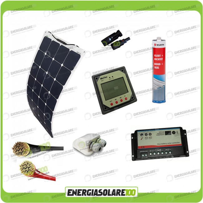 Regolatore Di Carica Pannello Solare 100w : Kit camper con pannello solare monocristallino