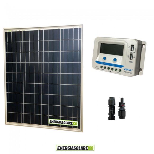 Pannello Solare E Regolatore Di Carica : Kit solare con pannello fotovoltaico w e regolatore di