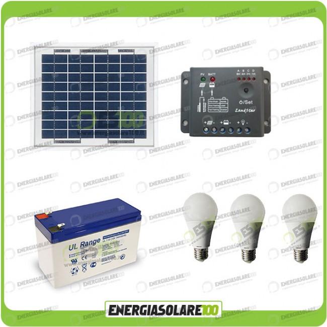 Kit Pannello Solare Led : Kit illuminazione pannello solare w con lampade led