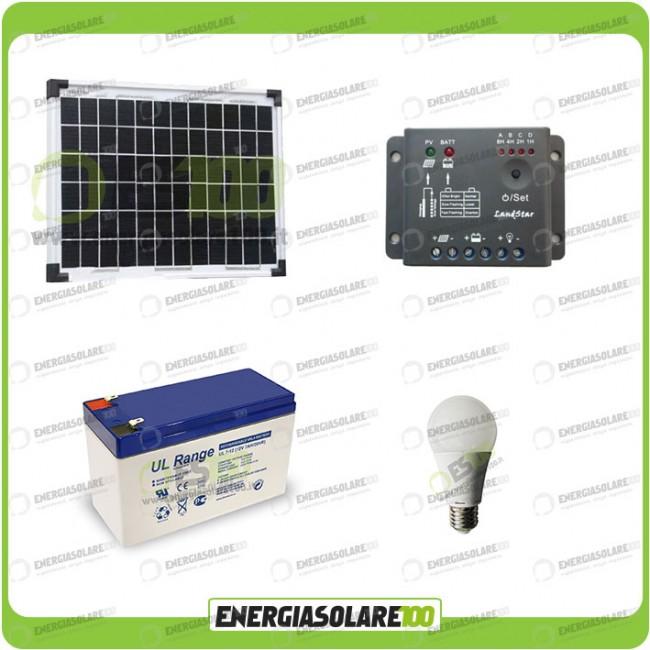 Kit Pannello Solare Con Accumulatore : Kit illuminazione interni pannello solare w lampada led