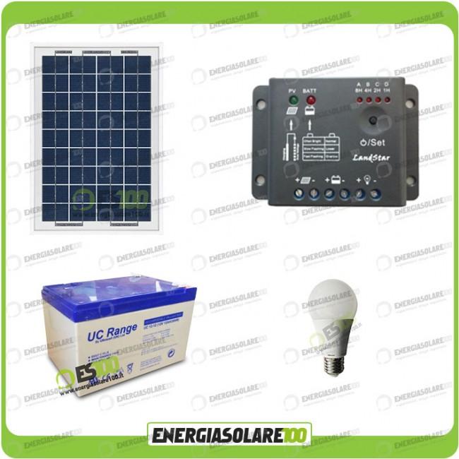 Kit Pannello Solare 10w : Kit illuminazione interni pannello solare w lampada led