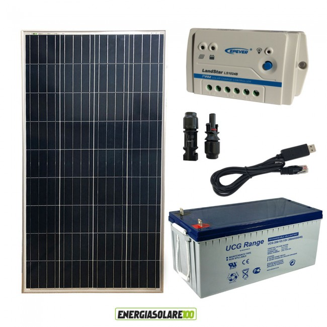 Kit Pannello Solare E Batteria : Kit starter plus pannello solare w v batteria gel