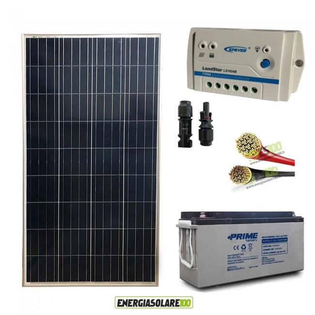Kit Pannello Solare 12v 10a : Kit pro pannello solare w v policristallino