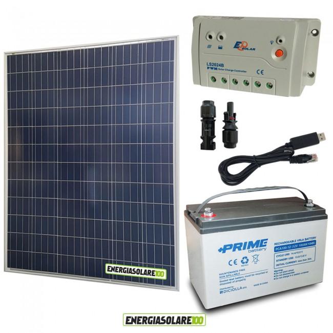 Kit Pannello Solare E Batteria : Kit starter plus pannello solare w v batteria agm