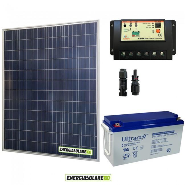 Pannello Solare Per Batteria 100 Ah : Kit starter plus pannello solare w v batteria gel