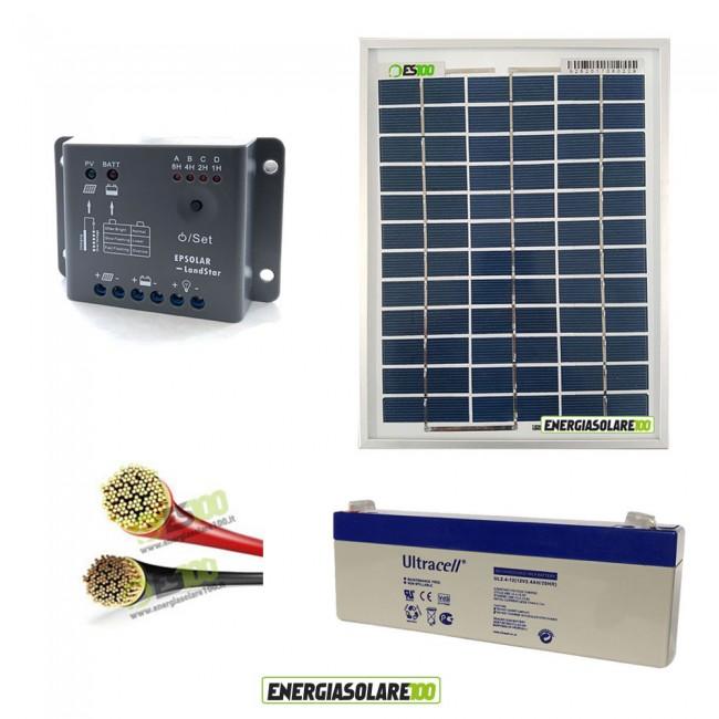 Kit Pannello Solare E Batteria : Kit fotovoltaico con pannello solare policristallino w
