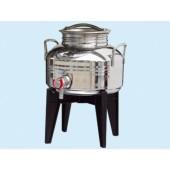 Bidoni contenitori acciaio inox per olio con supporto Sansone