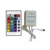CENTRALINA CONTROLLORE STRISCE LED RGB TELECOMANDO 24 TASTI IR INFRAROSSI 12/24 DC