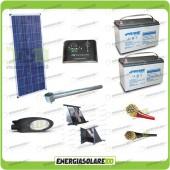 Kit Illuminazione Stradale a Led 34W 12V Batteria 150Ah Agm Luce Calda Pannello Solare