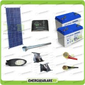Kit Illuminazione Stradale a Led 34W 12V 150Ah Gel Luce Neutra Pannello Solare