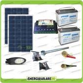 Kit Illuminazione Stradale a Led 42W 12V Batteria 150Ah Agm Luce Calda Pannello Solare