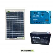 Kit Solare Fotovoltaico Campeggio Scout 10W 12V 7Ah alimentare Cellulare Luce e Stereo