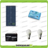 Kit Solare Fotovoltaico Campeggio Scout 30W 12V 12Ah Cellulare Luce LED 7W Stereo