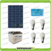 Kit Solare Fotovoltaico Campeggio Scout 80W 12V 38Ah Cellulare Luce LED 7W Stereo
