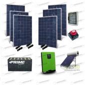 Kit Solare Casa al Mare non Connessa a Rete Enel 5kw 48V + Pannelli 1.6Kw + OPzS + Termico