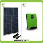Impianto fotovoltaico 1.4KW pannelli solari policristallini con Inverter ibrido ad onda pura Edison30 3KW 24V con regolatore di carica integrato PWM 50A