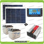 Kit baita pannello solare 100W 24V inverter onda modificata 600W batteria AGM 38Ah Nv