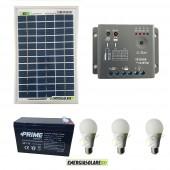 Kit illuminazione esterni e interni pannello solare 5W con 3 lampade bulbo 7W autonomia 1 ora