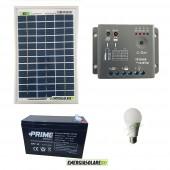 Kit illuminazione esterni e interni pannello solare 5W con 1 lampada bulbo 7W autonomia 3 ore EJ