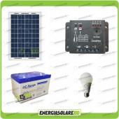 Kit illuminazione interni pannello solare 10W lampada LED 7W 12V max 6 ore batteria UC