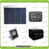 Kit illuminazione esterni pannello solare 30W con faro LED 10W autonomia 8 ore