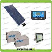 Kit fotovoltaico per illuminazione esterni pannello solare 80W con faro LED 30W autonomia 8-10 ore e 2 batterie da 38Ah 12V