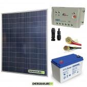 Kit Starter Pro 200W 12V Batteria GEL 100Ah Regolatore PWM 20A LS e Cavi 4mmq Solare
