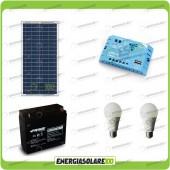 Kit illuminazione solare 30W per 5 ore per stalle o baite con 2 lampade 7W 12V