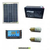 Kit Solare Votivo 5W 12V 2 lampada LED 0.3W con crepuscolare funzione Tramonto/Alba