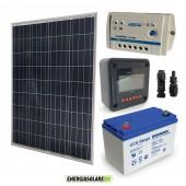 Kit Starter Solare Plus 100W 12V Batteria GEL 100Ah Regolatore PWM 10A LS1024B con MT-50