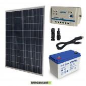 Kit Solare fotovoltaico con pannello policristallino da 100W 12V Batteria Ultracell GEL 100Ah Regolatore PWM 10A LS1024B con RS485