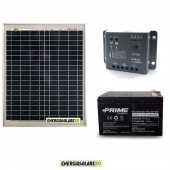 Kit Starter Plus 20W 12V Regolatore PWM 5A Epsolar Batteria AGM 12Ah Deep Cycle