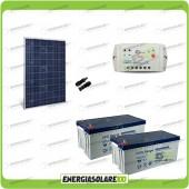 Kit Starter Plus Pannello Solare HF 280W 24V Batteria Gel 200Ah  Regolatore PWM 10A LS1024B