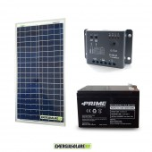 Kit Starter Plus EJ 30W 12V Regolatore PWM 5A Epsolar Batteria AGM 12Ah Deep Cycle