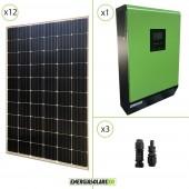 Impianto solare fotovoltaico 3.6KW 48V pannello europeo monocristallino Inverter ibrido Genius50 48V 5KW MPPT 80A