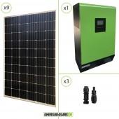 Impianto solare fotovoltaico 2.7KW 48V pannello europeo monocristallino Inverter ibrido Genius60 48V 5KW 2 MPPT 60A