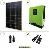 Impianto solare fotovoltaico 600W 24V pannello europeo monocristallino inverter ibrido onda pura 3KW PWM 50A