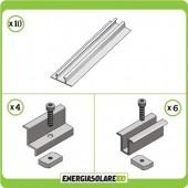 Kit Struttura 4 Pannelli Solari Modulo Verticale 35mm Tetto Grecato