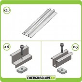 Kit Struttura 4 Pannelli Solari Modulo Verticale 40mm Tetto Grecato