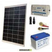 Kit Starter Pro 100W 12V Batteria GEL 100Ah Regolatore PWM 10A LS Epsolar e Cavi 4mmq PVC