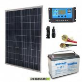 Kit Starter Pro 100W 12V Regolatore PWM 10A NV Batteria UC 100Ah e Cavi 4mmq PVC