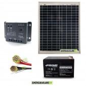 Kit Starter Pro EJ 20W 12V con batteria 12Ah e cavi 2.5mmq PVC