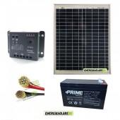 Kit Starter Pro EJ 20W 12V con batteria 7Ah e cavi 2.5mmq PVC