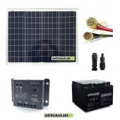 Kit Starter Pro 50W 12V con batteria 24Ah e 5m cavi Solare 4mmq