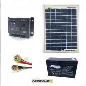 Kit fotovoltaico pannello solare 5W 12V con batteria 7Ah e cavi 2.5mmq PVC